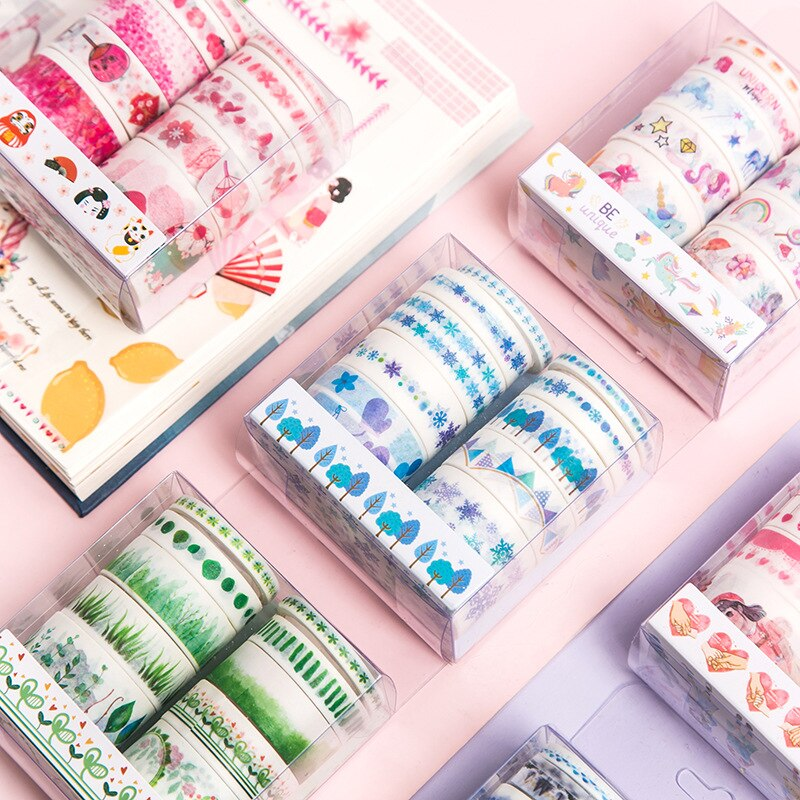10 rollos/lote Cherry Bloom flamenco unicornio Washi Tape Diy papel enmascarar Tape cintas adhesivas decorativas Scrapbooking pegatinas