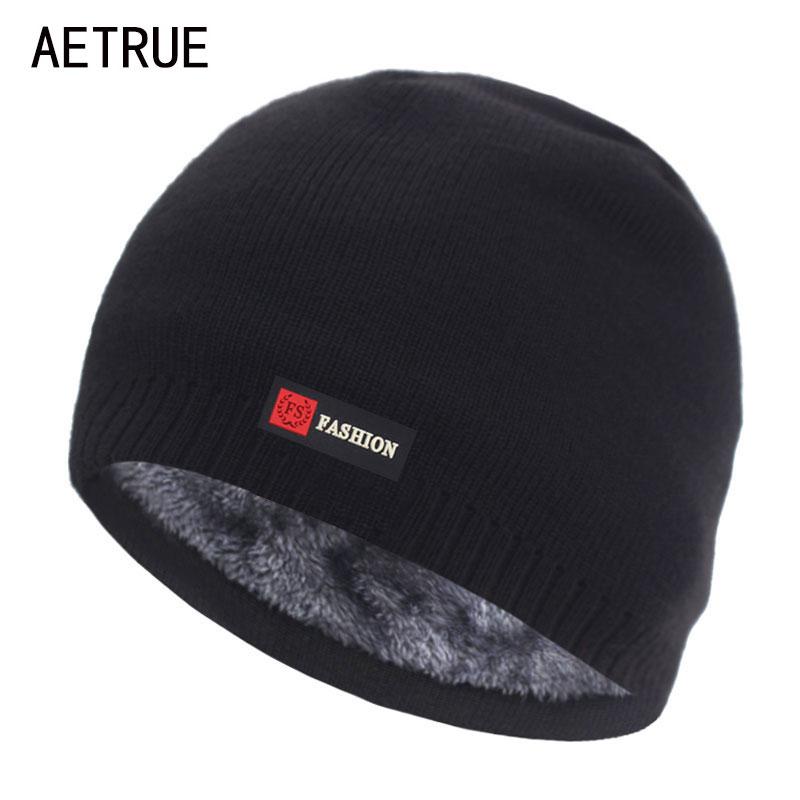 Skullies Beanies Men Winter Hat Women Knitted Hats For Men Cap Winter Beanie Hat Gorro Thick Warm Brimless Fur Bonnet Men's Cap