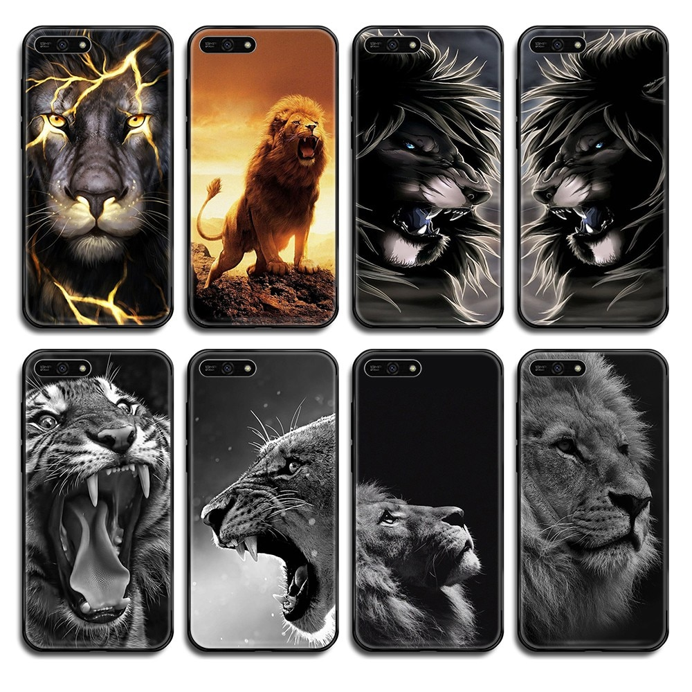 Funda de teléfono Cool Tiger animal 3D bonita carcasa negra para Huawei Honor Mate 5 6 7 8 9 10 20 30 A C X Lite Pro