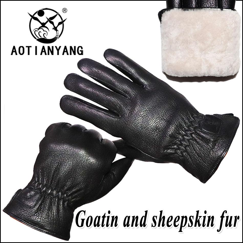 AOTIANYANG перчатки из натуральной овчины мужские кожаные перчатки из натуральной шерсти, зимние утолщенные теплые меховые перчатки, утолщенны...