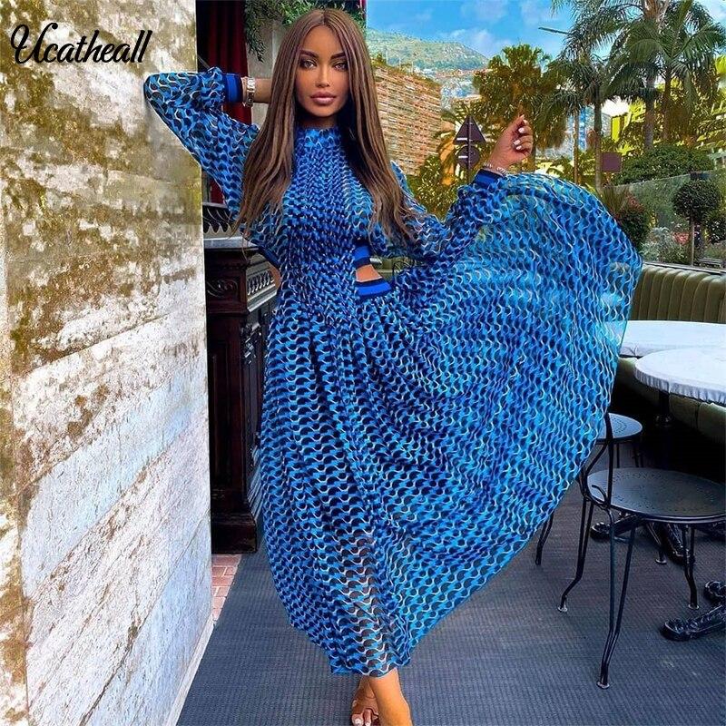 Женское Шифоновое Платье макси с высоким воротником и длинным рукавом