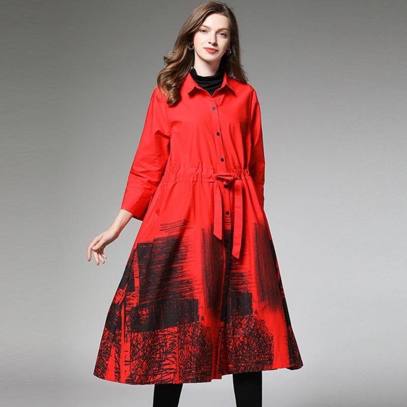 Женское платье-рубашка LANMREM, осеннее платье с отложным воротником и чернильным принтом на рукавах большого размера, AI977, 2020