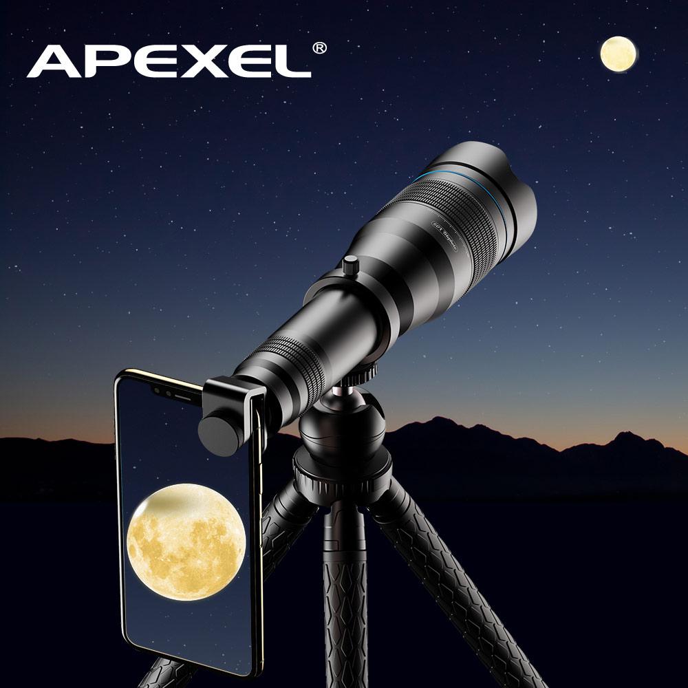 APEXEL-عدسة Telephoto ، احترافية ، HD 60x ، تكبير أحادي ، سيلفي ، حامل ثلاثي القوائم مع مصراع عن بعد ، للسفر ، الصيد ، التنزه والرياضة