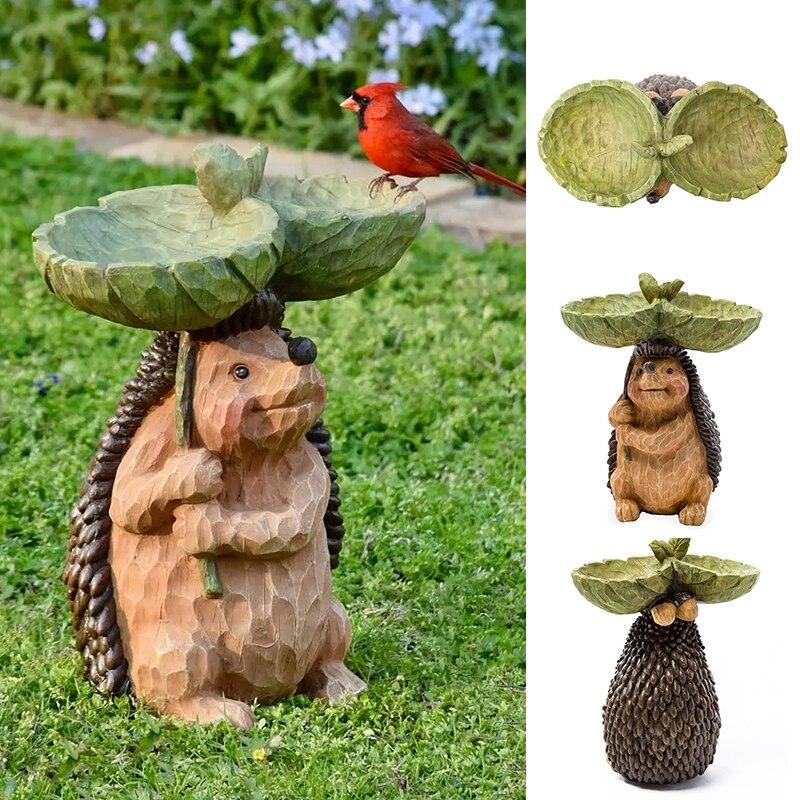 منحوتة الراتنج القنفذ الطيور تمثال الحيوان في الهواء الطلق تغذية الطيور الراتنج الديكور لطيف القنفذ حديقة لهجة لحديقة Hogard