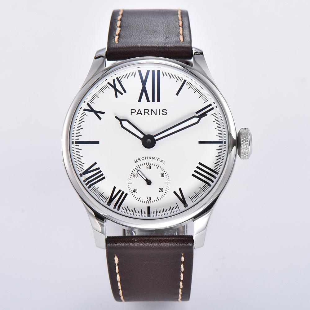 Parnis 44mm reloj mecánico para hombre 6498 ST3620 cuerda manual movimiento números romanos correa de cuero caja redonda reloj de pulsera Masculino
