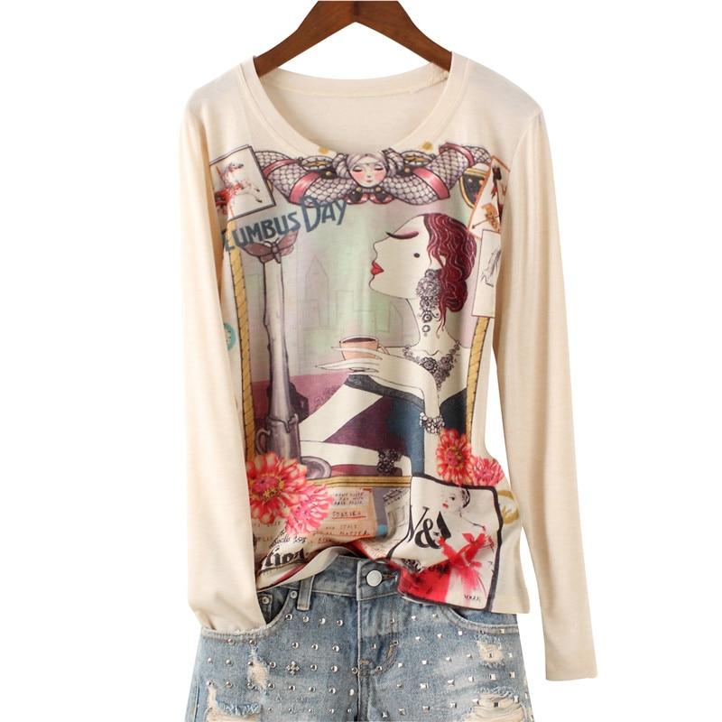 Camiseta XUXI de primavera con estampado de flores, camiseta de manga larga, ropa de calle de moda de algodón de color, camiseta delgada coreana 2020 para mujer FZ2160
