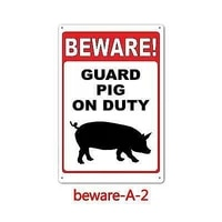 metal sign warning beware of pig duty gate cave wall fence bar shop store home