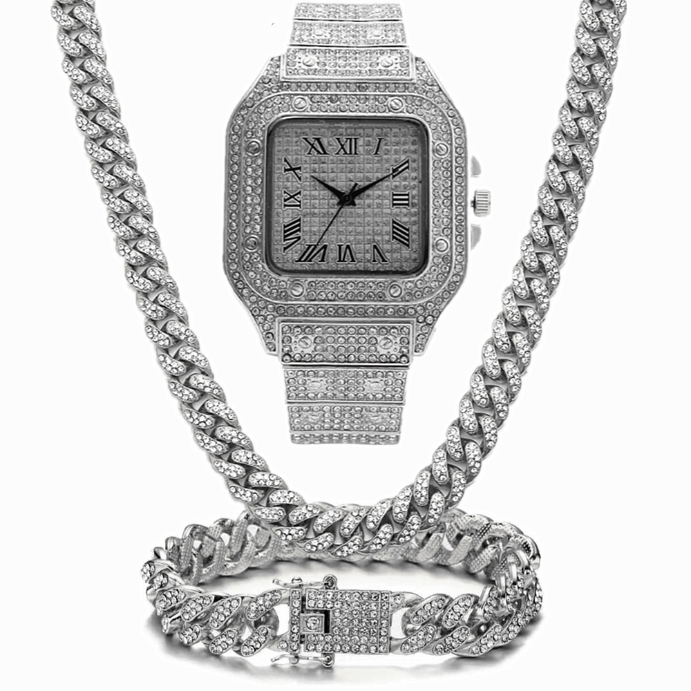 Iced Out Watch Bling Miami Cuban Link Chain Iced Out Chain Necklace Bracelet Luxury Hip Hop Gold Watch Men Jewelry Set Relogio watch for women top brand luxury iced out watch diamond watch for men iced out cuban link chain necklace wristwatch man hiphop