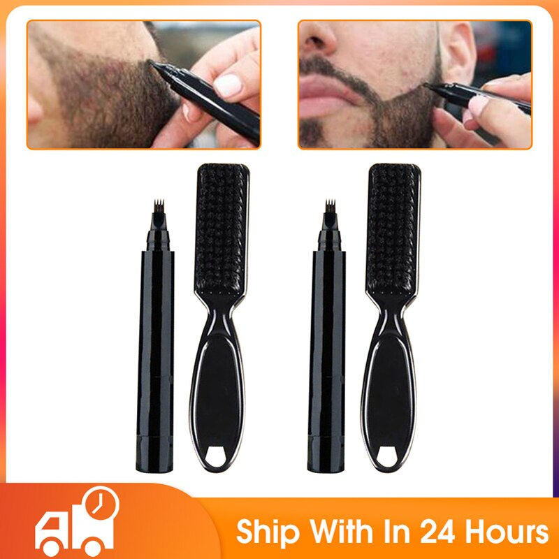 Kit de pluma de llenado de barba para hombre, lápiz de barbero...