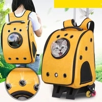 pet trolley case cat outing bag backpack trolley bag transparent cat bag cat cage large capacity dual use travel backpack