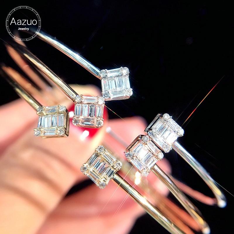 Aazuo ريال 18K وردة ذهبية بيضاء الذهب الأصفر الذهب الحقيقي الماس ساحة الكفة الإسورة للمرأة الراقي العصرية حفلة الخطوبة