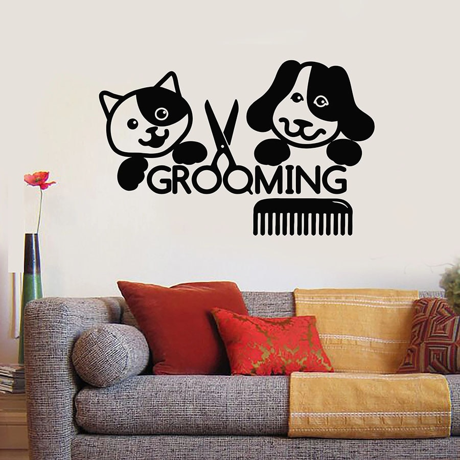 Decalque Da Parede do Salão de beleza Groomer Pet Grooming Beleza Gato Cão Animais De Estimação Etiquetas Da Janela Do Vinil Animal Tesoura Pente Mural Decoração de Interiores S1360
