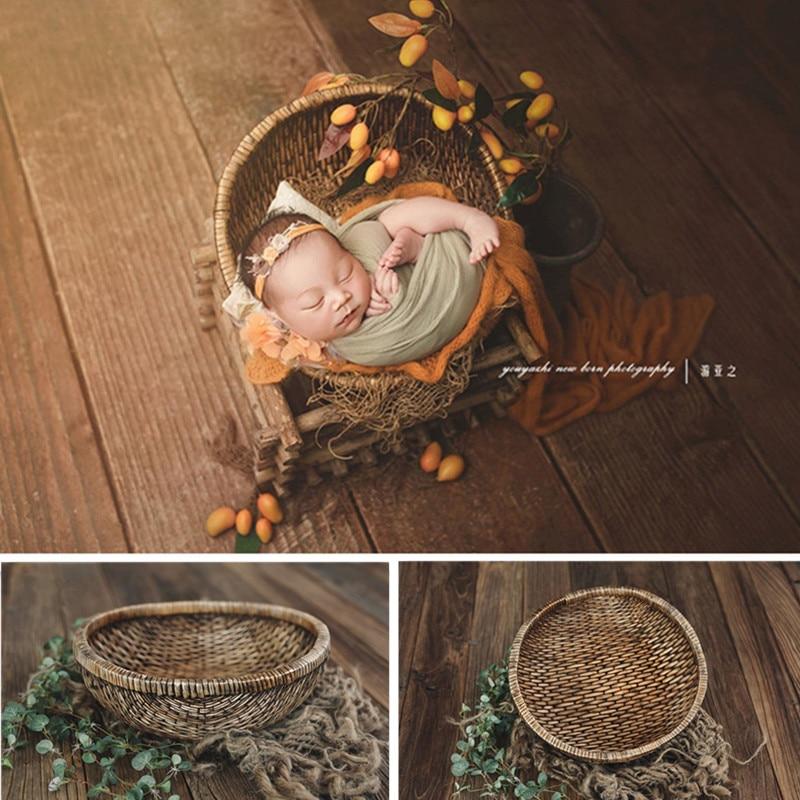 Newborn Baby Photography Props Handmade Rattan Basket Vintage Newborn Prop for Photo Shoot Boy Fotografia Accessories Background