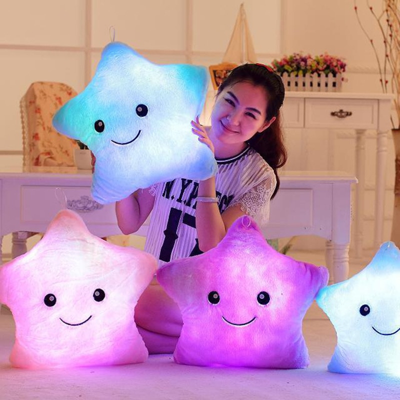 34CM Creative Toy Luminous Pillow Soft Stuffed Plush Glowing Colorful Stars Cushion Led Light Toys G