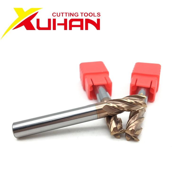 HRC55, fresa de extremo de carburo, 75mm, 100mm de longitud, cortador de 4 flautas, herramienta de corte de acero de tungsteno con revestimiento de aleación, fresadora CNC