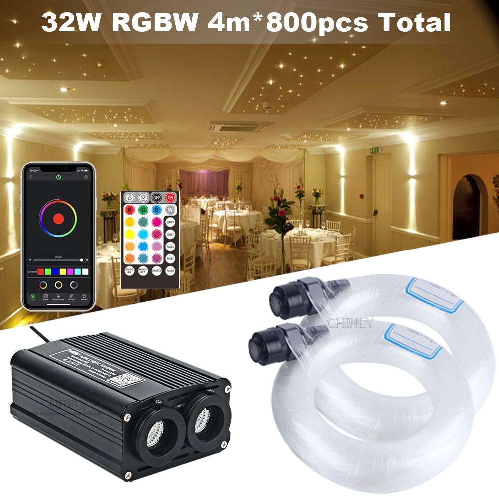 مصدر ضوء مزدوج من الألياف البصرية ، 32 واط ، محرك RGBW ، جهاز تحكم عن بعد ، 800 قطعة ، كابل 4 متر ، ضوء السقف