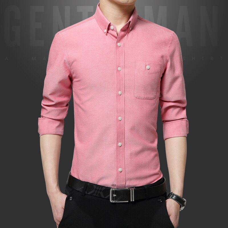 Осень-зима однотонные рубашки для мужчин с длинным рукавом мужская рубашка натуральный хлопок рубашка офис праздничная одежда мужская Тон...