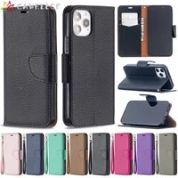 lychee pattern leather case for iphone 11 12 mini pro apple xs max xr 8 7 6s 6 plus se 2020 solid color flip wallet phone cover