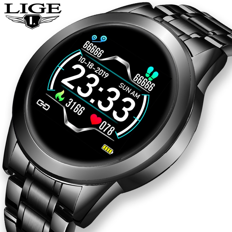 LIGE-ساعة رياضية متصلة للرجال والنساء ، شاشة LED ، مقاومة للماء ، مع عداد الخطى ، لنظام Android/ios ، مع صندوق ، جديد لعام 2021