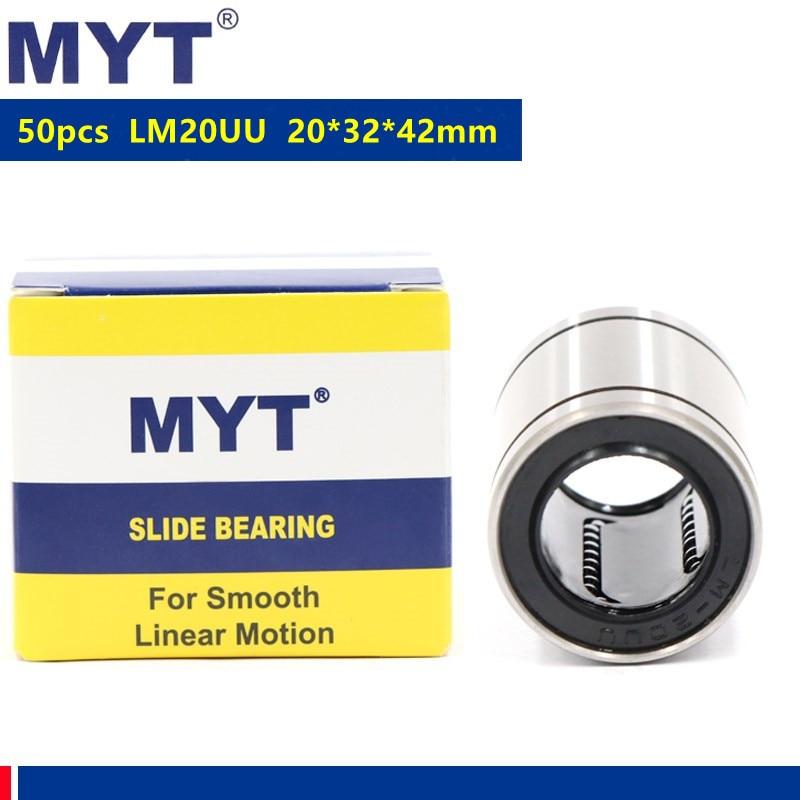 50 قطعة MYT عالية الدقة LM20UU 20 مللي متر 20*32*42 ملليمتر الخطي جلبة نك تحمل ل عمود خطي قضيب أجزاء