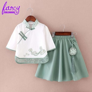 Fancy Childhood Vintage Cotton Linen Summer Kids Designer Clothes Girls Top + Skirt 2 Pieces Set Childrens Boutique Clothing