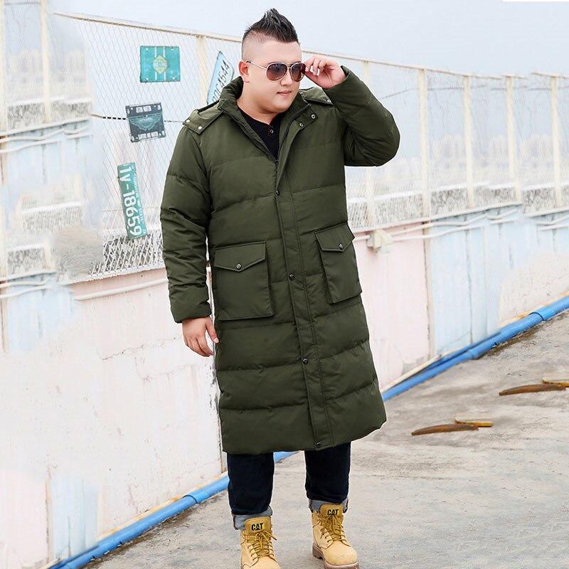 Chaqueta de invierno 2019 de talla grande suelta con capucha larga para hombre abrigo largo sobre las rodillas de gran tamaño XL-7XL 8XL 9XL 10XL chaqueta negra