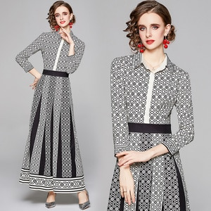 European and American Fashion French Dress Women Shirt Dress 2021 Long Sleeve Office Lady Vintage Printed Ankle-Length Dress Hot