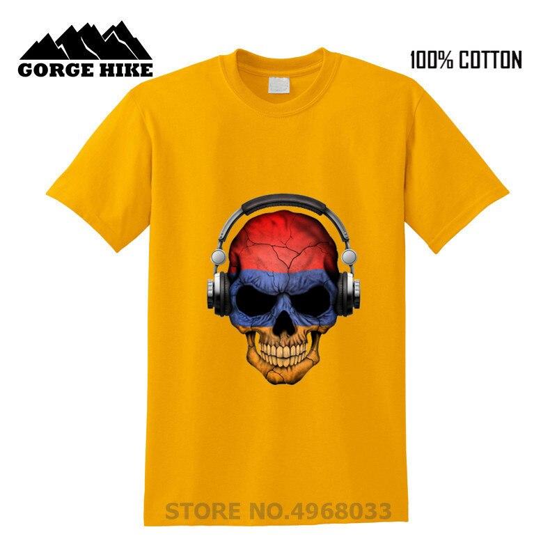 Skull oscuro Deejay con bandera armenia DJ música Camiseta Hombre HIp Hop negro camiseta hombres clásico verano abrigo 100% algodón fresco camisetas