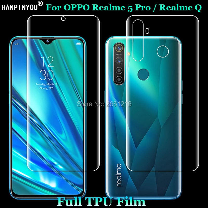 For OPPO Realme 5 Pro / Realme Q 2 Pcs = Front + Back Slim Full Cover Soft TPU Film Explosion-proof
