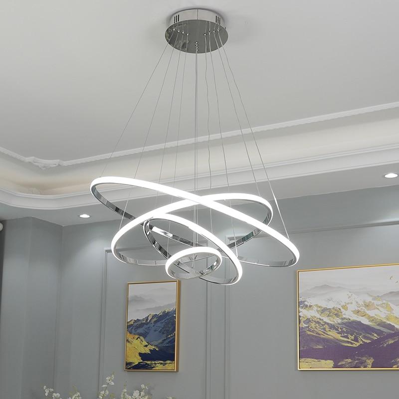 مصباح سقف LED معلق على الطراز الاسكندنافي ، تصميم حديث ، إضاءة داخلية ، إضاءة سقف مزخرفة ، مثالية لغرفة المعيشة أو غرفة الطعام ، 4/3/2 حلقة مطلية ...