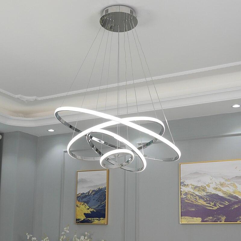 Verchromt 4/3/2 Ringe Moderne LED Kronleuchter für dinningroom wohnzimmer hängen nordic lampe led Lustre Anhänger kronleuchter
