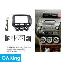 Car Fascia Radio Panel for Honda Fit,Jazz,City 2002-2008 (Manual AC) (Right Wheel) Frame Dash Fitting Kit Facia Face Plate Bezel