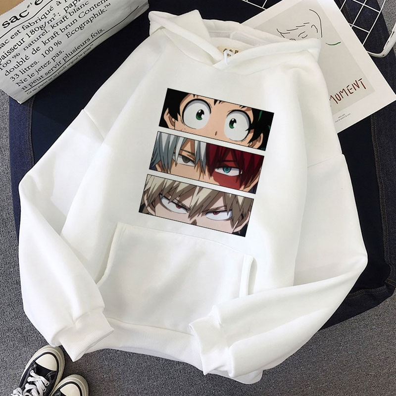 Женская толстовка с капюшоном My Hero академия, зимний Повседневный пуловер, толстовка с капюшоном, модные толстовки с японским аниме, Женская ...