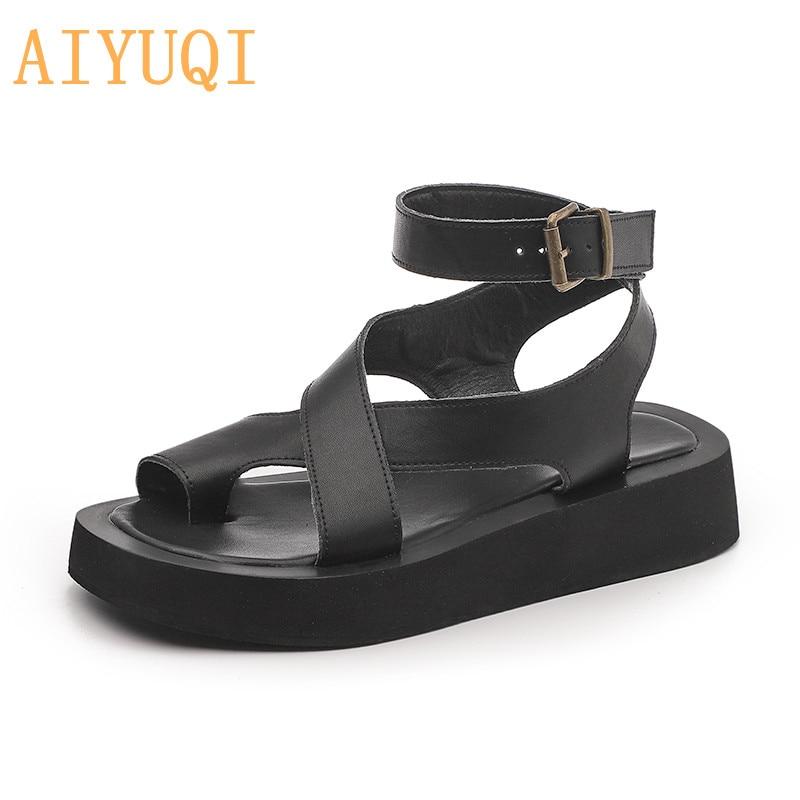AIYUQI Women Summer Sandals 2021 New Genuine Leather Ladies Sandals Flat Fashion Sandals Women