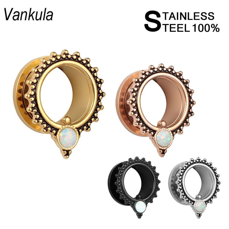 Vankula Opal Piercing de oreja de acero inoxidable tapones de oreja de tornillo túneles de oreja de moda expansor de la joyería del cuerpo Venta de 2 piezas
