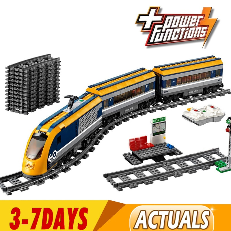 DHL 02117 02118 Cargo Train Building Blocks Set Compatible with 60197 60198 City RC Passenger Trains King Bricks
