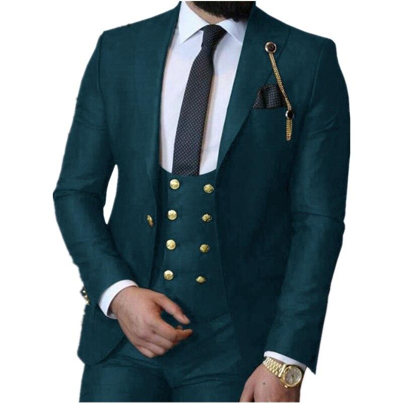 Handsome One Button Groomsmen Peak Lapel Groom Tuxedos  Men Suits Wedding/Prom/Dinner Best Blazer(Jacket+Pants+Vest+Tie) 396