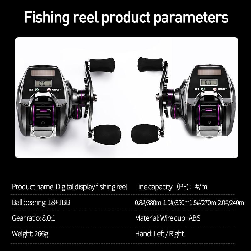 Electronic Fishing Reel Counter Digital Display Baitcasting Reel 8.0:1 High Speed Ratio 2020 New Profile Line Pesca enlarge