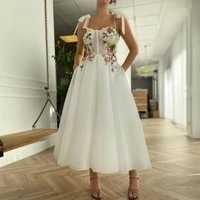 vintage prom dresses bohemian flowers a line tulle party gown dress christmas dresses for teens robes de cocktail