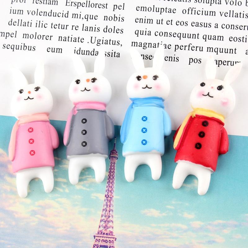Bufanda de resina Kawaii, 10 Uds., conejo, adorno de cabujón con parte posterior plana, pegatina para nevera, accesorios DIY, arte de colección de álbumes de recortes