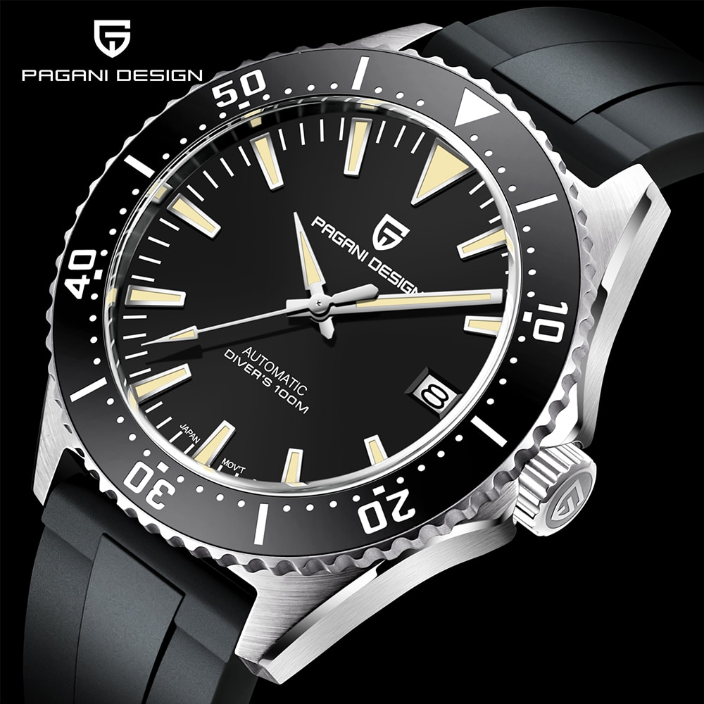 PAGANI تصميم العلامة التجارية الأعلى ساعة أوتوماتيكية مقاوم للماء 100 متر ساعة اليد الميكانيكية الفاخرة الياقوت الزجاج الساعات الرجال Montre أوم