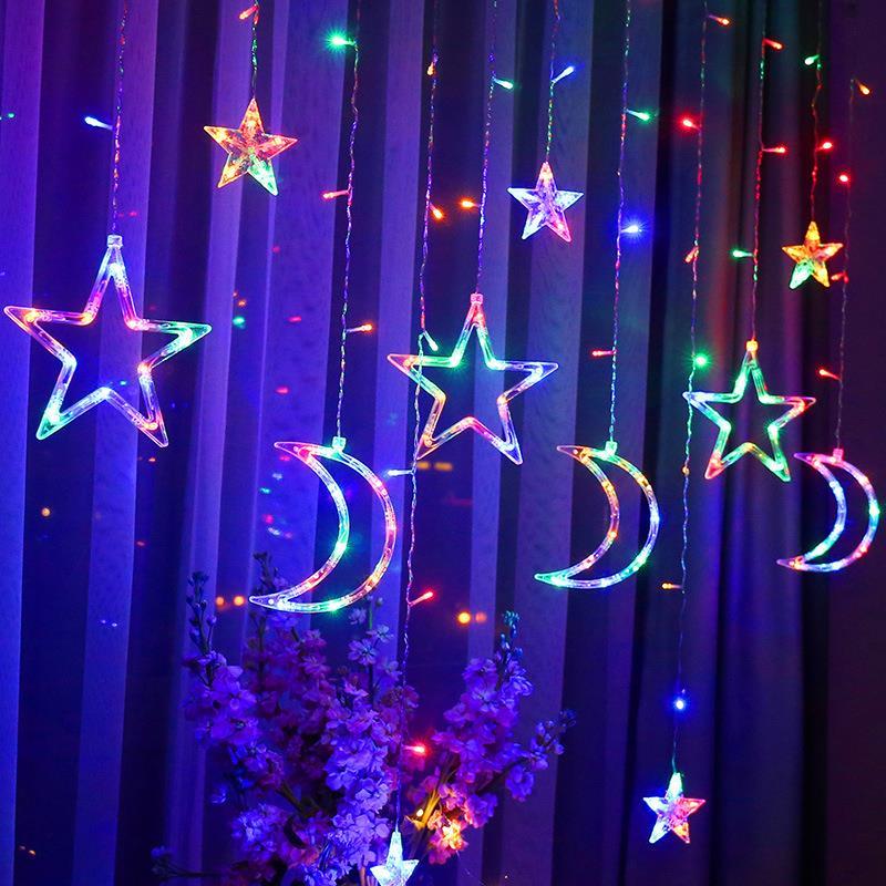 Moon Star Durable Romantic Super Bright Moon Star Lamp String LED Lamp String Fairy String Light 8 Modes Wedding Neon Lantern