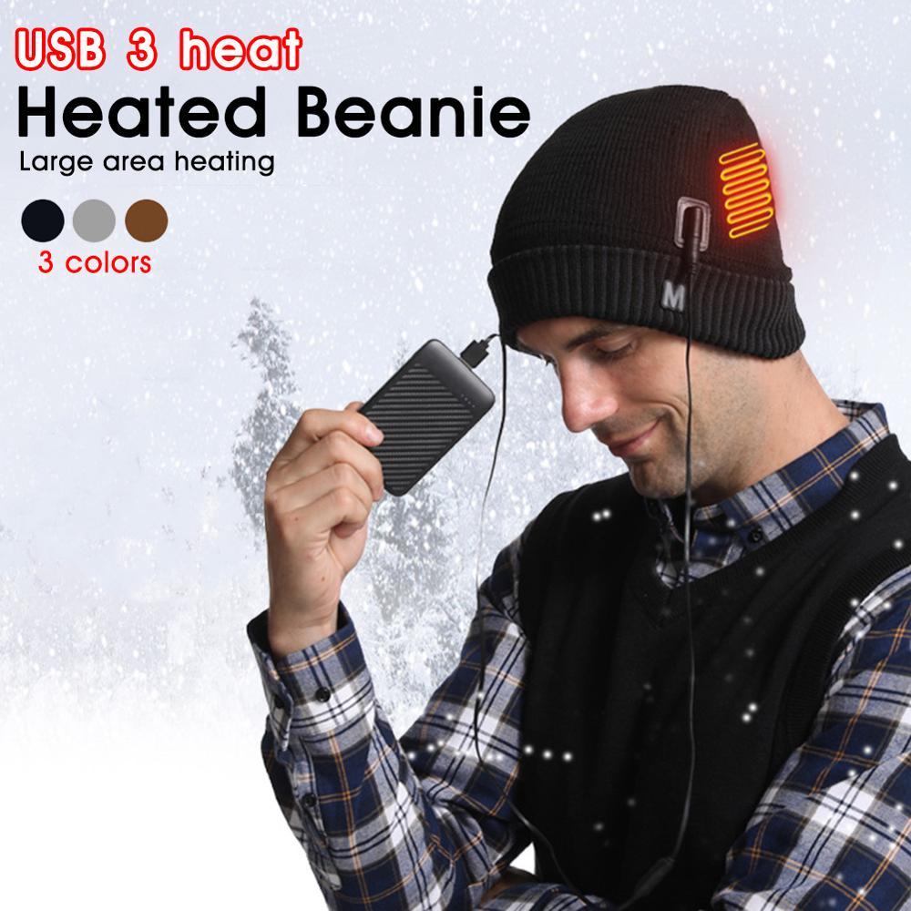 Шапки унисекс с USB-подогревом, зимняя облегающая шапка для мужчин, теплые шапки с изоляцией для мужчин и женщин, для спорта на открытом возду...