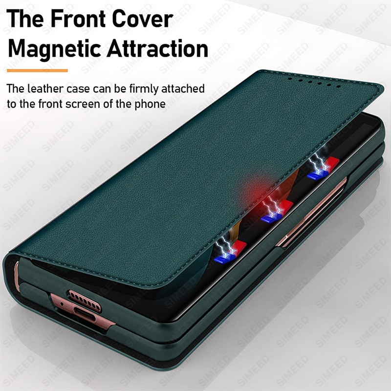 2021 لسامسونج غالاكسي Z أضعاف 3 5G جلد طبيعي فتحات بطاقة مغناطيسية محفظة الوجه الحال بالنسبة لسامسونج Z أضعاف 2 Fold2 Fold3 غطاء