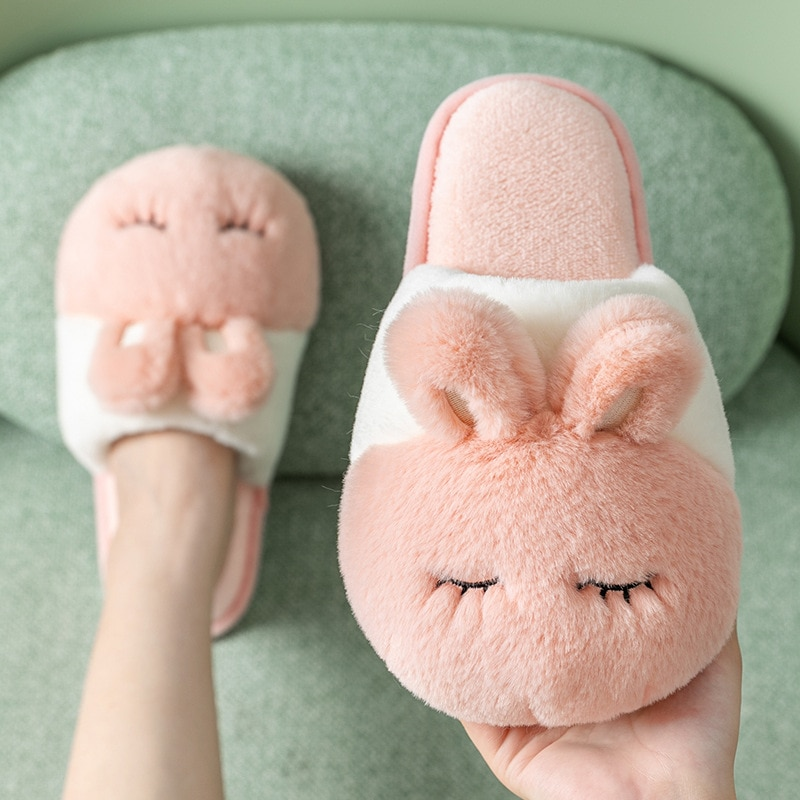Suihyung Women Home Slippers Winter Fluffy Fur Slippers Cute Rabbit Design Plush Indoor Shoes Female