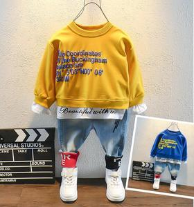 Spring Toddler Kids Baby Boy Letter Stitching T-Shirt Tops+ Jeans Pants Outfits Clothes Set Children's suit High Quality 2-6Year