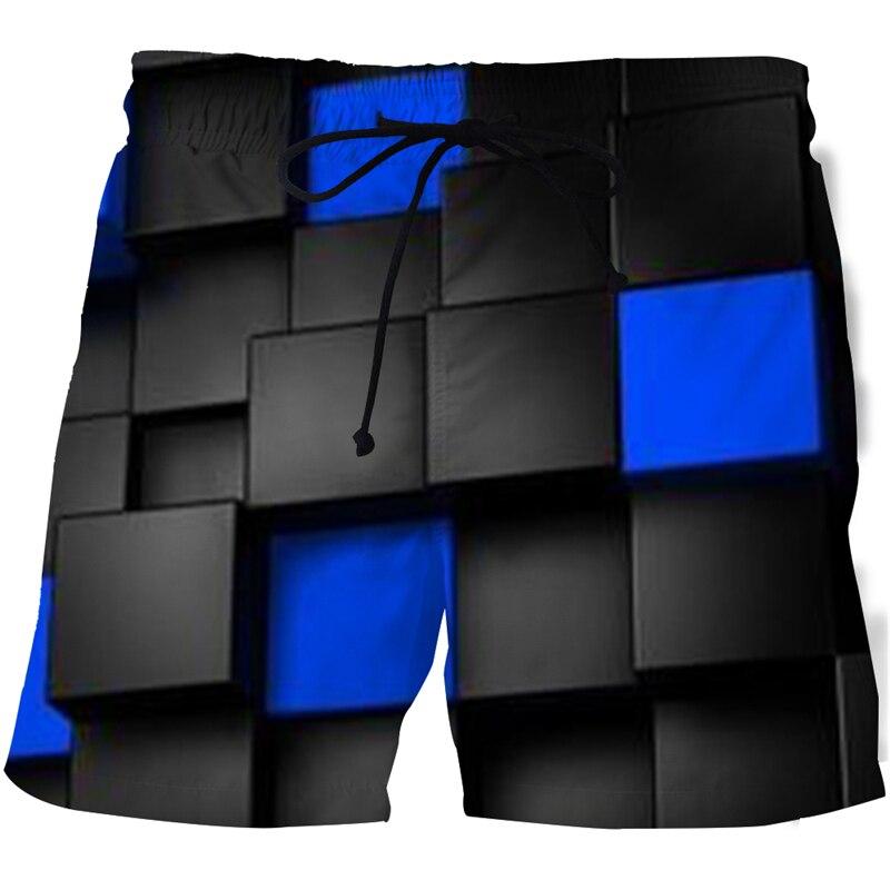 Быстросохнущие мужские шорты для бега с 3D рисунком, летние мужские шорты, плавательные шорты-бермуды
