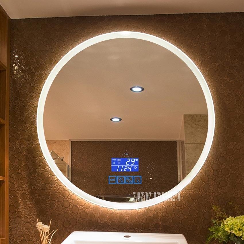 CTL304 90 سنتيمتر ترقية 2-color ضوء مرآة ذكية الحائط مرآة حمام ليد مستديرة شاشة تعمل باللمس المرآة البالونية 110 فولت/220 فولت