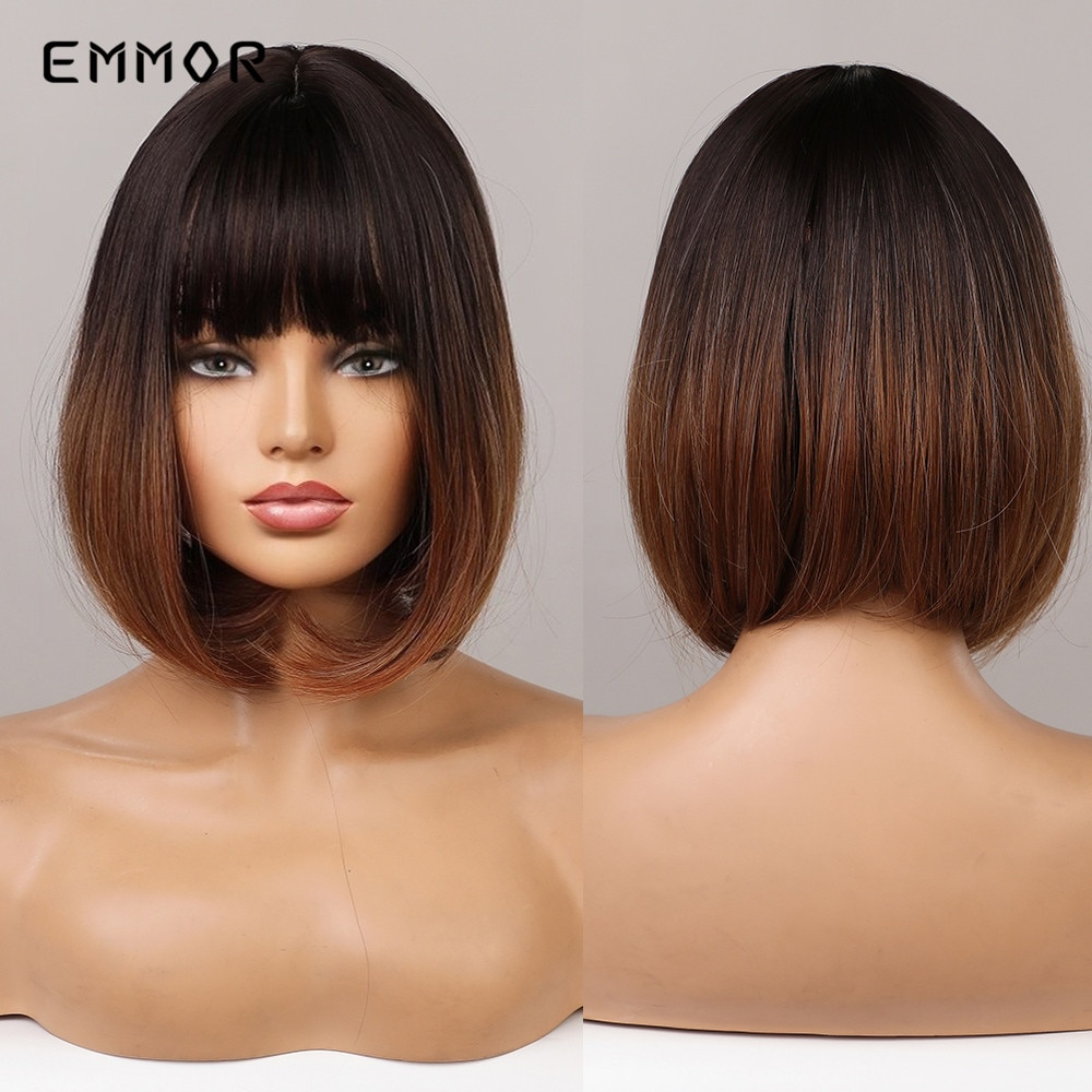 Emmor Short Straight Bob Synthetic Wigs with Bangs Natural Black to Brown Ombre Hair For Women Cosplay Heat Resistant