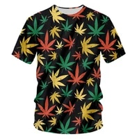 ogkb 3d print o neck t shirts maple colorful leaf streetwear weed plant men women fashion t shirt harajuku plus size homme tops